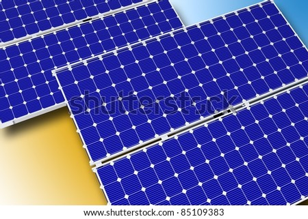 Solar Technology Theme. Photovoltaic Solar Panels. Horizontal Illustration. 3D Rendered Graphic.
