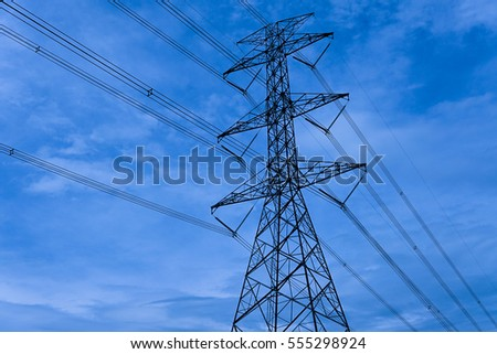 Solar tower on sky Background