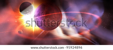 Solar Turbulence - Solar flares radiate from a huge sun near a planet and its orbiting moons. - stock photo