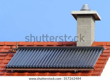 Solar water heating - stock photo