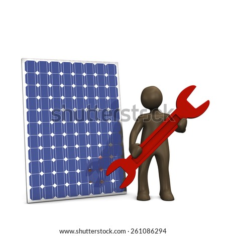 Solarpanel repair service, 3d illustration with black cartoon character. - stock photo