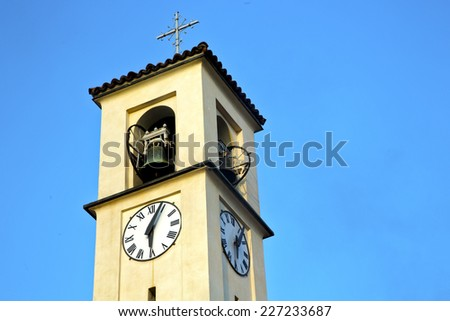 solbiate olona   old abstract in  italy   the   wall  and church tower bell sunny day