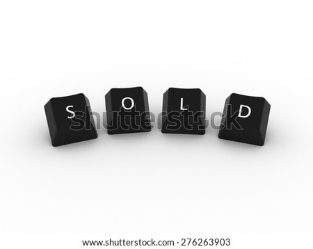 SOLD Computer Keys on white background