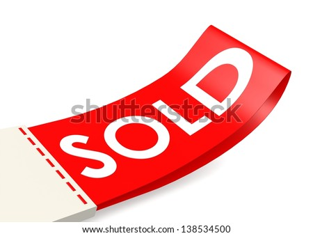 Sold flag - stock photo