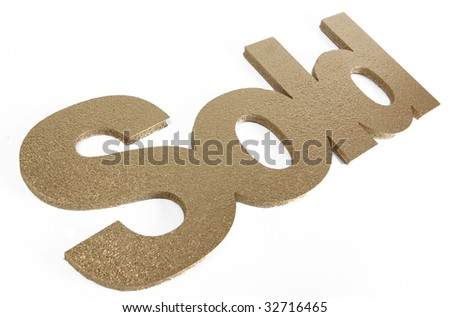 sold in gold - stock photo
