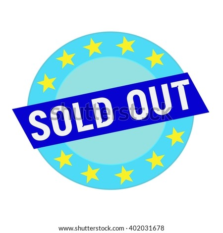 sold out white wording on blue Rectangle and Circle blue stars