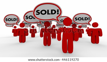Sold People Speech Bubble Closed Deal Customers 3d Illustration