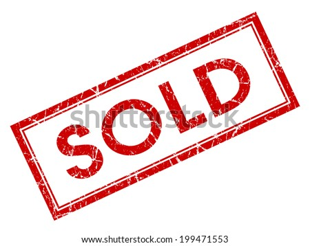 Sold red square grungy stamp isolated on white background