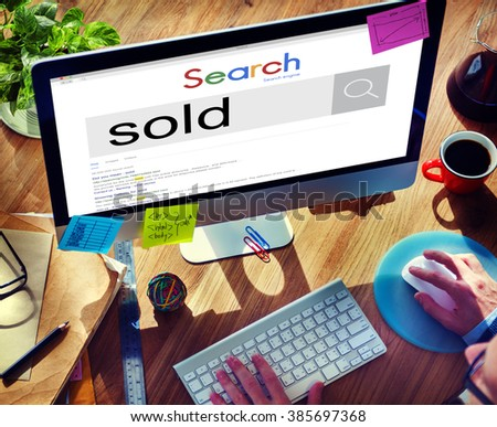 Sold Sale Customer Commerce Product Commercial Concept - stock photo