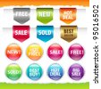Sold Stickers And Ribbons, Isolated On White Background - stock vector