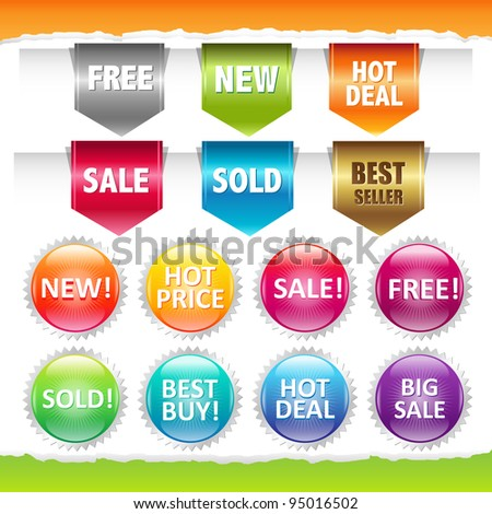 Sold Stickers And Ribbons, Isolated On White Background
