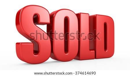 sold text 3d on white background. - stock photo