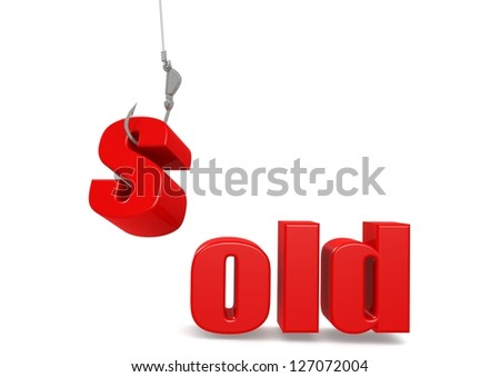 Sold with hook - stock photo