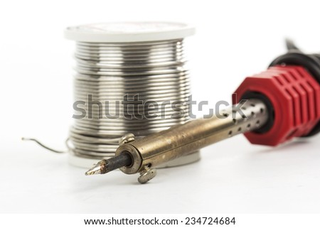 soldering iron soldering wire isolated on white background  - stock photo