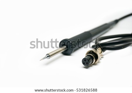 Soldering iron with black handle isolated on white background