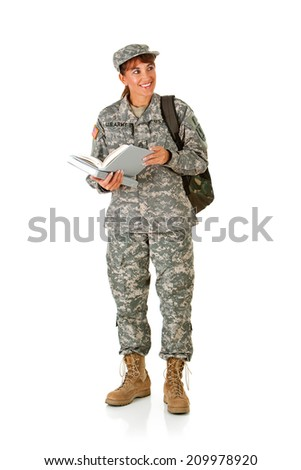 Soldier: Adult Student With Book And Backpack Glancing To Side - stock photo