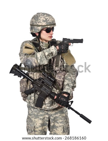 soldier aiming a gun  on white background - stock photo