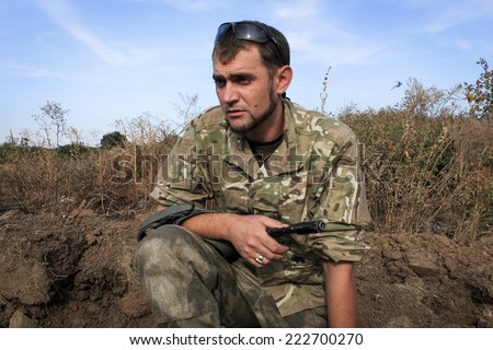 Soldier at war - stock photo