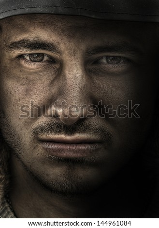 Soldier close up - stock photo