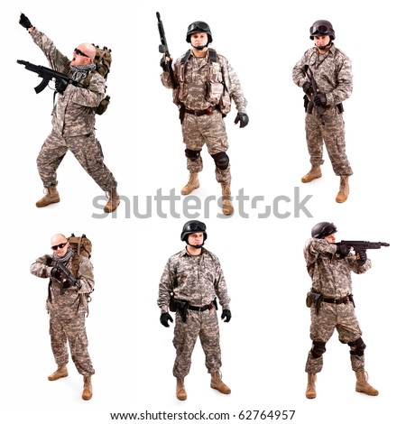 soldier coolage holding a gun, isolated in white - stock photo