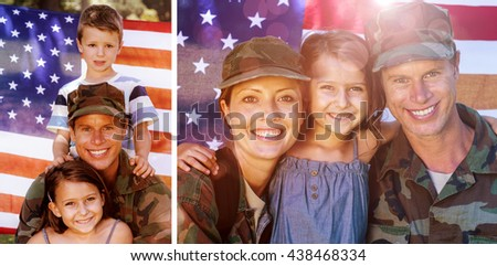 Soldier couple reunited with their daughter against american soldier reunited with his son and daughter - stock photo