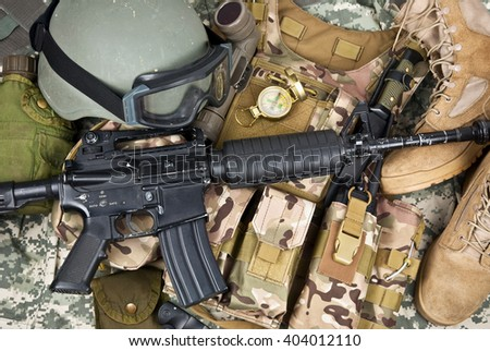 soldier equipment of NATO forces stock photo - stock photo