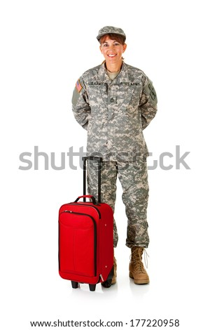 Soldier: Female Ready To Travel Home - stock photo