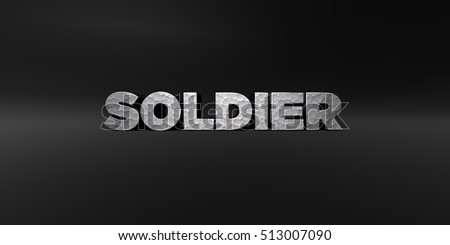 SOLDIER - hammered metal finish text on black studio - 3D rendered royalty free stock photo. This image can be used for an online website banner ad or a print postcard.