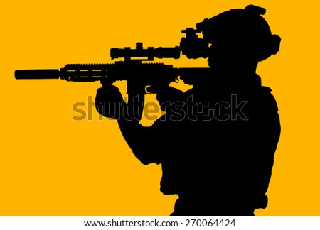 soldier hold Machine gun full mrmor for silhouette isolated