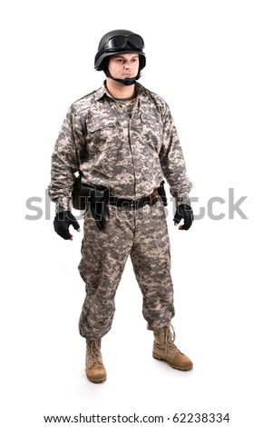 soldier holding a gun, isolated in white - stock photo