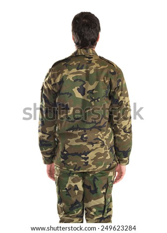 Soldier in back position - stock photo