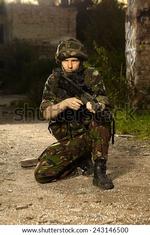 Soldier in field - stock photo