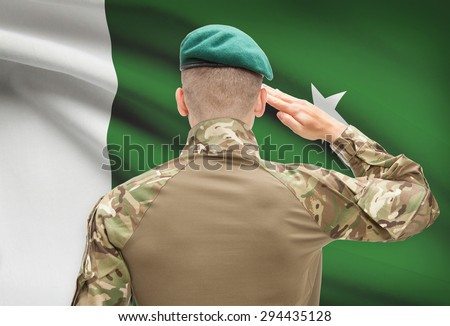 Soldier in hat facing national flag series - Pakistan - stock photo