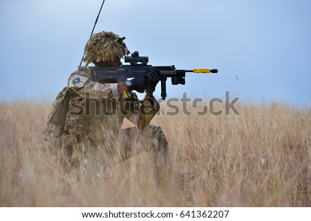 Soldier in military polygon