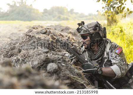 soldier in the mountains during the military operation - stock photo