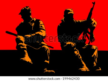 Soldier in uniform with gun on red background - stock photo