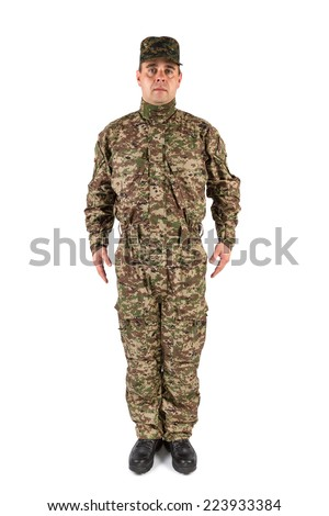 Soldier isolated - stock photo