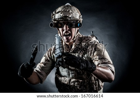 soldier man hold  knife style fashion