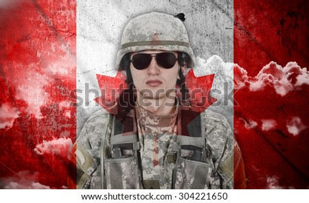soldier on a canada flag background, double exposure - stock photo
