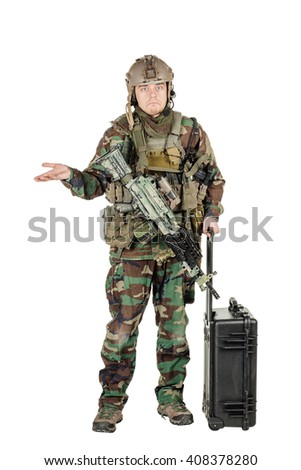 soldier or private military contractor with rifle and black plastic case. war, army, weapon, technology and people concept. Image on a white background. - stock photo