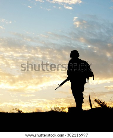 Soldier patrolled silhouette