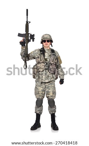 soldier raised his rifle up on a white background - stock photo