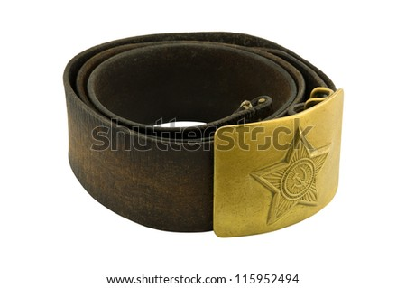 Soldier's belt (the Soviet Union), isolated on white background - stock photo