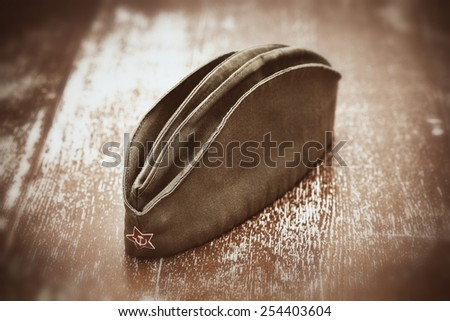 Soldier's forage cap during the Second World War - stock photo