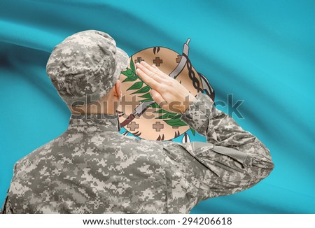 Soldier saluting to USA state flag conceptual series - Oklahoma - stock photo