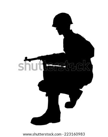 Soldier silhouette with helmet made in 3d software