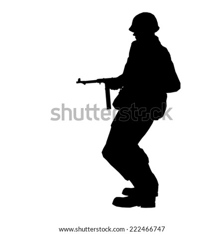 Soldier silhouette with rifle made in 3d software