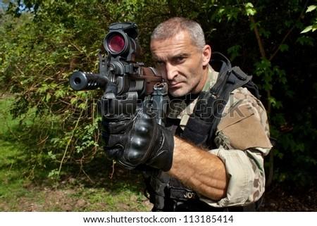 soldier special counterterrorism unit - stock photo