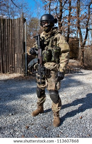 soldier special counterterrorism unit sa.vz.58 with an assault rifle, caliber 7.62 mm