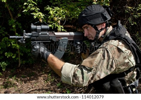soldier special counterterrorism unit, sa.vz.58 with an assault rifle, caliber 7.62 mm
